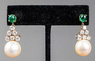 18K Emerald, Diamond & South Sea Pearl Earrings