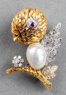 Vintage 18K Gold Diamond, Pearl & Ruby Bird Brooch