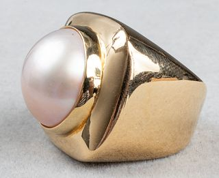 Mid-Century Modern 18K Yellow Gold Mabe Pearl Ring