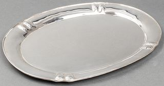 German Silver Hammered Serving Tray