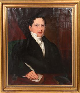 English School Portrait of a Gentleman Oil, 19th C