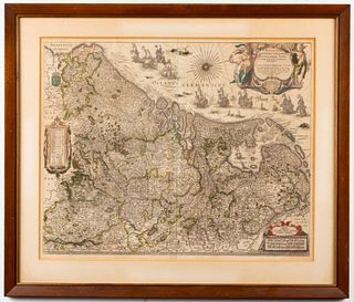 "Blaeu ""Inferioris Germaniae"" Antique Engraved Map"