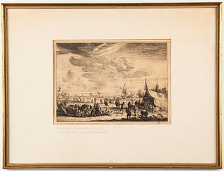 "Pieter Bout ""The Ice Skaters,"" Antique Etching"