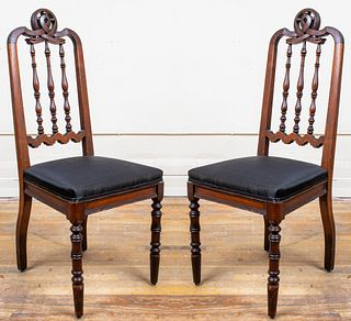 Carved Oak Side Chairs with Dolphin Crests, Pair