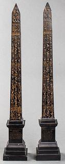 Egyptian Revival Style Obelisks w Hieroglyphics