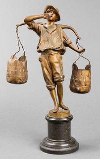 "Franz Rosse ""Water Carrier"" Bronze Sculpture"