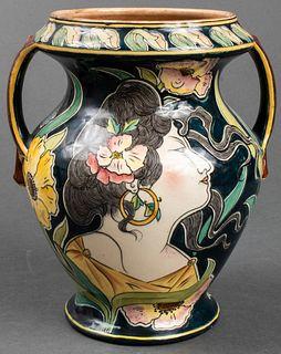 "Royal Bonn ""Old Dutch"" Art Nouveau Pottery Vase"