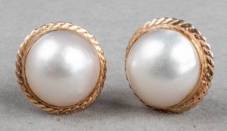 Vintage 14K Yellow Gold & Mabe Pearl Clip Earrings