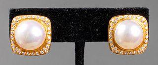 18K Yellow Gold Diamond & Mabe Pearl Clip Earrings