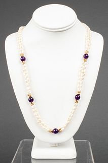 14K Yellow Gold Pearl & Amethyst Beaded Necklace