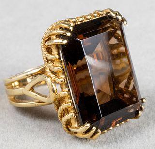 Vintage 10K Yellow Gold & Smoky Quartz Ring