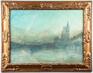 "Herbert John Finn ""River Thames"" Watercolor, 1917"
