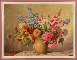 Hans Liebl Still Life with Flowers Oil on Board