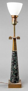Stiffel Mid-Century Modern Table Lamp, Glass Shade