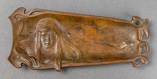 "Art Nouveau ""Girl"" Bronze Desk Tray"