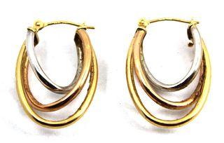 Jacmel Mauritius Designer 14K Tri-Gold Earrings