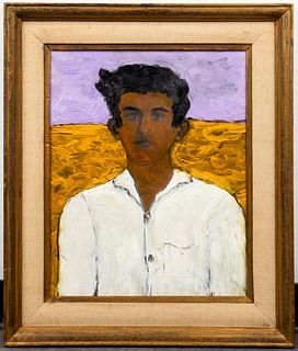 "Abraham Pariente ""Father"" Modern Oil on Board"