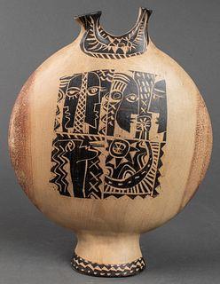 Illegibly Signed Cubist Motif Pottery Vase
