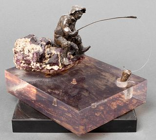 R. Leventhal Fisherman Bronze & Fluorite Sculpture