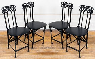 Art Nouveau Cast Iron & Leather Folding Chairs, 4