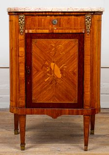 Louis XVI Style Inlaid Cabinet With Marble Top
