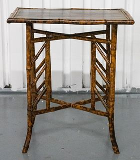 Regency Style Lacquered Bamboo Side Table