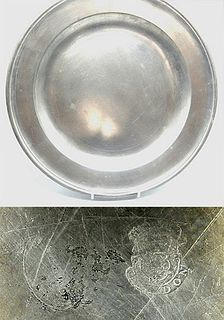 """15"""" Pewter Dish Marked by Compton"""