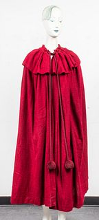 Saint Laurent Rive Gauche Red Opera Cape