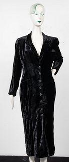 Norma Kamali Black Velvet Coat