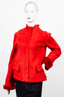 Emanuel Ungaro Red Shearling Coat