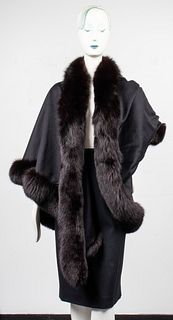 J Mendel Black Fox Fur Trimmed One Arm Shawl