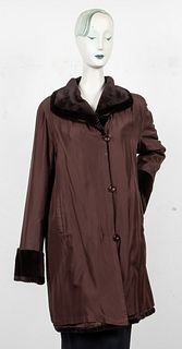 Brown Sheared Mink Fur Lined Reversible Coat