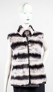 Rex Rabbit Fur Chinchilla-Pattern Vest