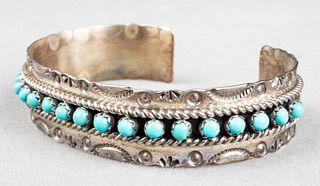 Native American Silver Turquoise Bangle Bracelet