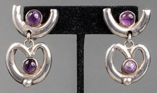 Vintage Taxco Silver & Amethyst Drop Earrings