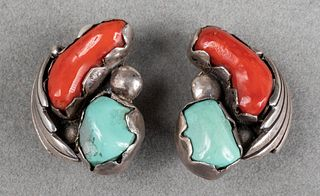 Navajo Silver Turquoise & Coral Clip Earrings