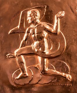 Erwin Springweiler Art Deco Copper Relief Plaque
