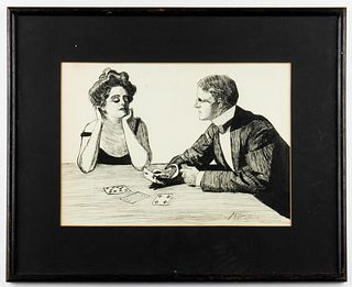 "M. T. Cleaver Signed ""The Card Game"" Ink Drawing"