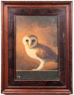 "Illegibly Signed ""Owl on Ledge"" Oil on Board"