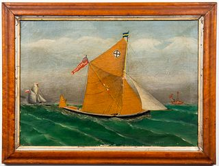 """W. Doherty """"Sailboats"""" Oil on Canvas, 20th C."""