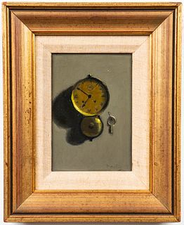 "Richard Pionk ""Clock & Key"" Oil on Board"