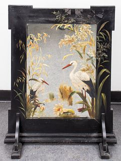 Aesthetic Movement Hand-Painted Mirror Fire Screen