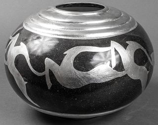 "Art Deco Style ""Gazelle"" Porcelain Vase"