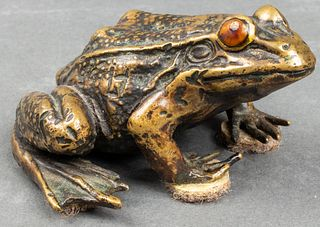 Linda Horn Bronze Frog Paperweight Sculpture
