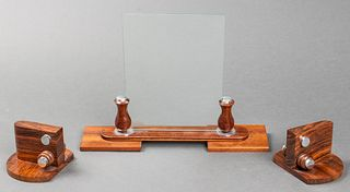 Art Deco Wood Bookends & Picture Frame, 3 Pcs.