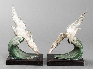 Art Deco Seagull Polychrome Cast Metal Bookends Pr