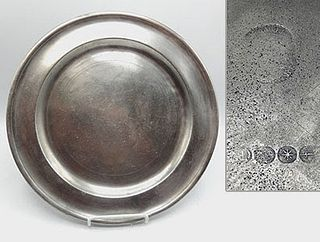 """14 3/4"""" Pewter Dish By William Billings"""