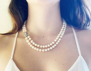 Fresh water Pearls Necklace 18k Gold & Diamonds clasp