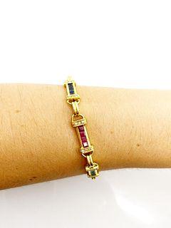 18k Gold Sapphire, Ruby, Emerald, Diamond Bracelet