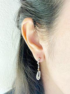 Unique Micro Pearls Diamond Platinum 18k Gold Drop Earrings